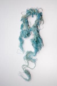 Collier - Cordages retrouvés sur la plage, cristaux de roche, fil d'argent