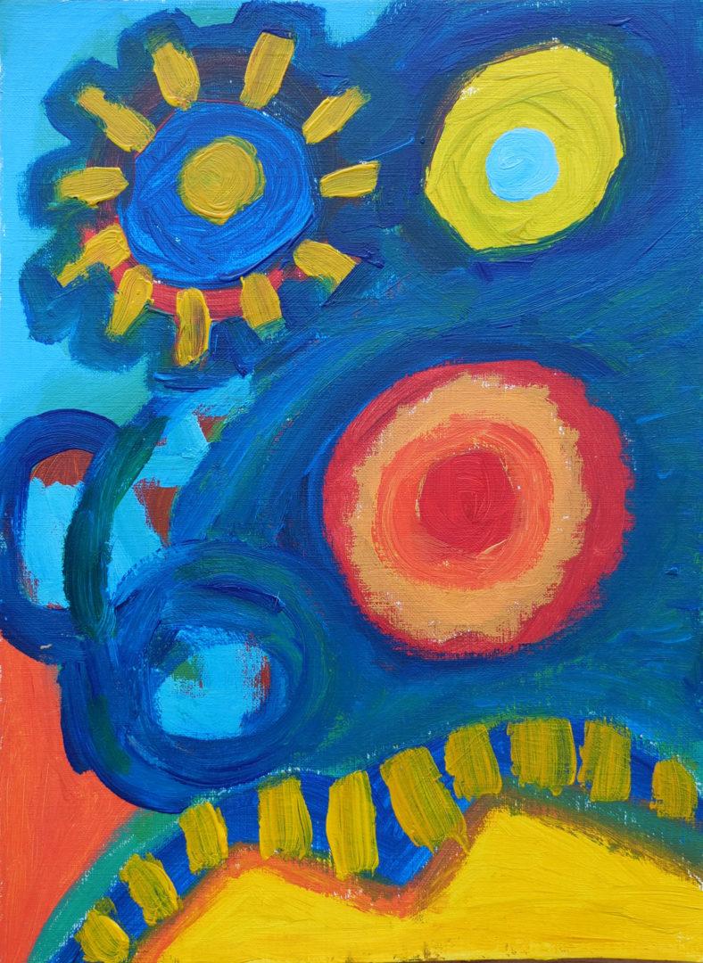 Peintures acryliques sur carton et papier